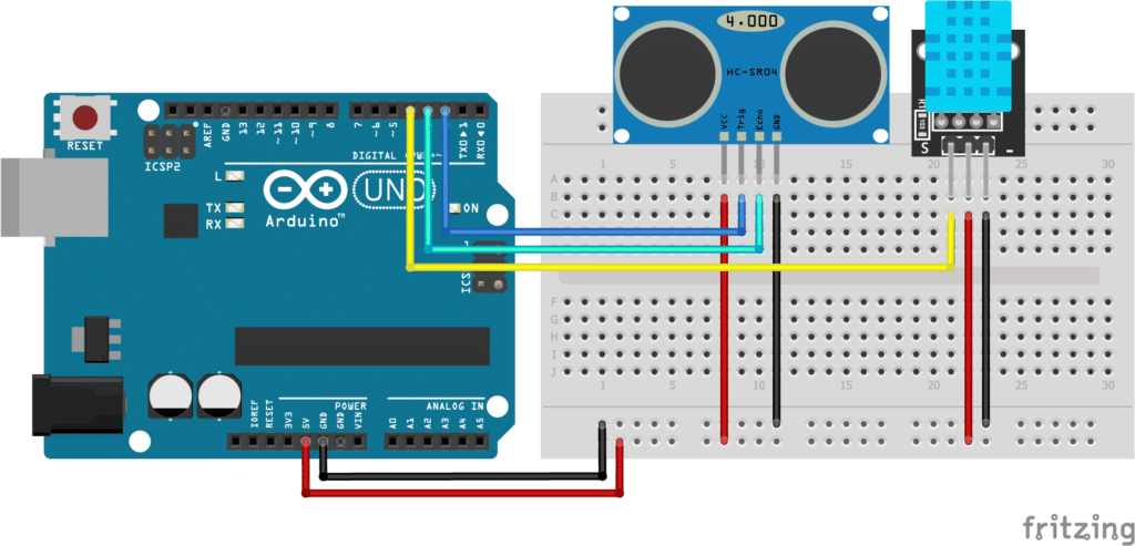 HC-SR04 with DHT11 and Arduino UNO wiring