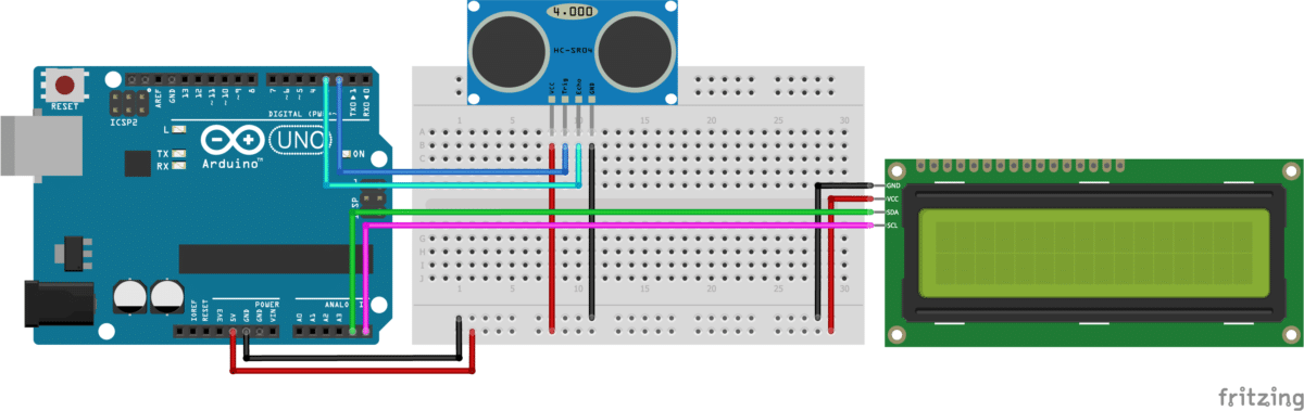HC-SR04 with I2C LCD and Arduino UNO wiring