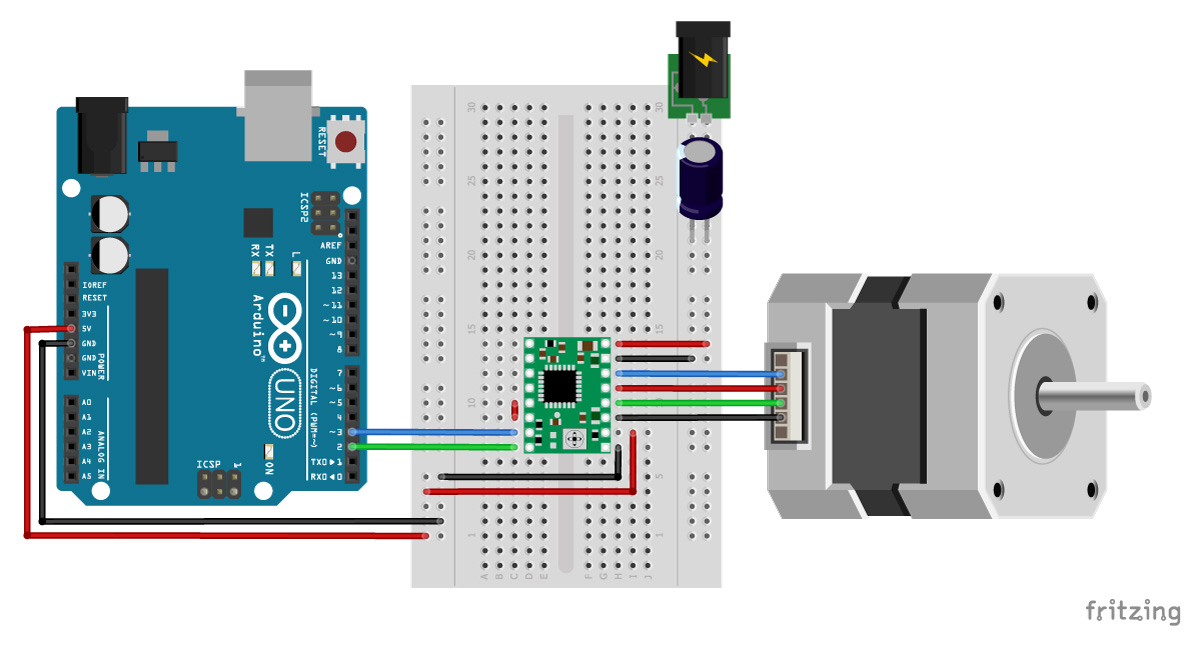 A4988 Arduino stepper motor wiring schematic diagram pinout