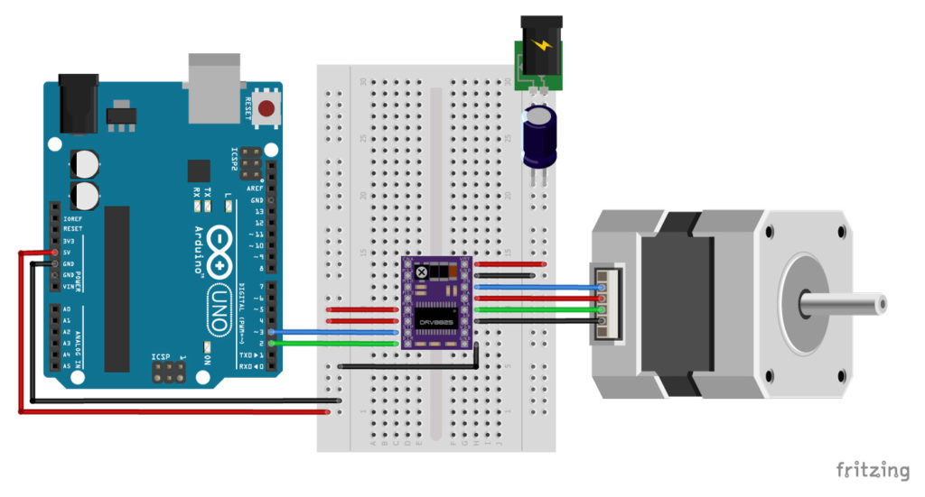 DRV8825 Arduino stepper motor wiring schematic diagram pinout