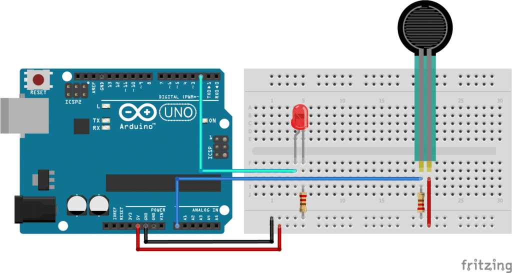 Force sensitive resistor (FSR) with Arduino and LED wiring diagram