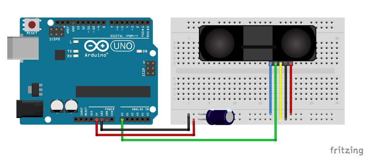 Ir Distance Sensor With Arduino Tutorial  Sharp Gp2y0a710k0f