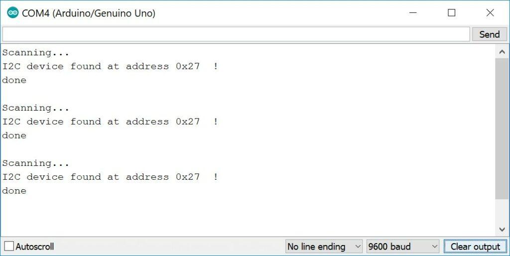 I2C Address finder serial monitor output
