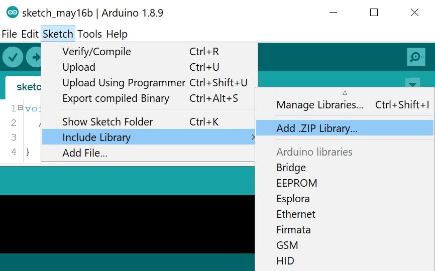 Installing an Arduino library ZIP