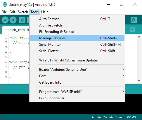 Installing an Arduino library step 1 open Library Manager