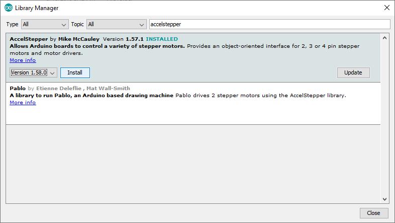 Installing an Arduino library step 2 AccelStepper