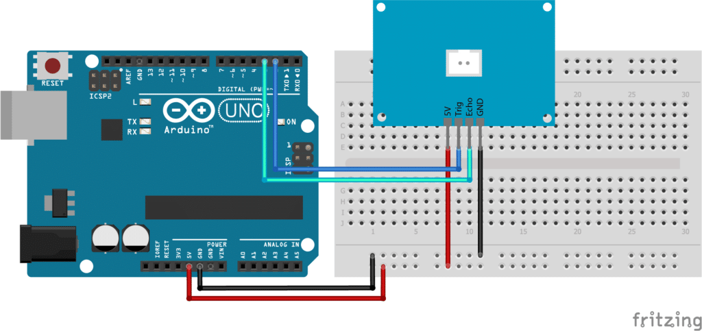 JSN-SR04T with Arduino Wiring Diagram Circuit