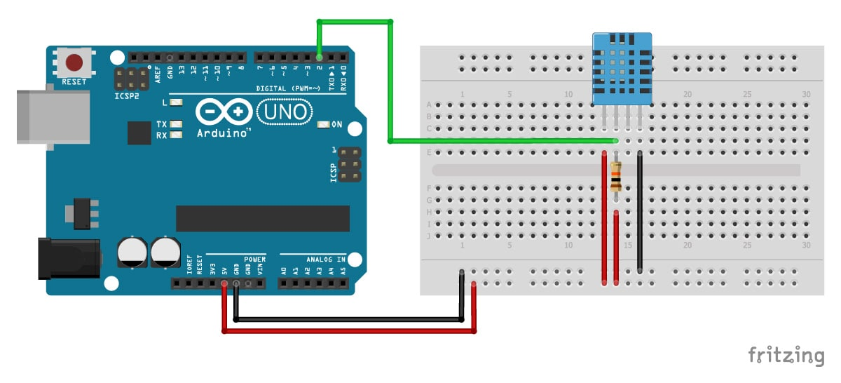 DHT11/DHT22 Sensors with Arduino Tutorial (2 Examples) on