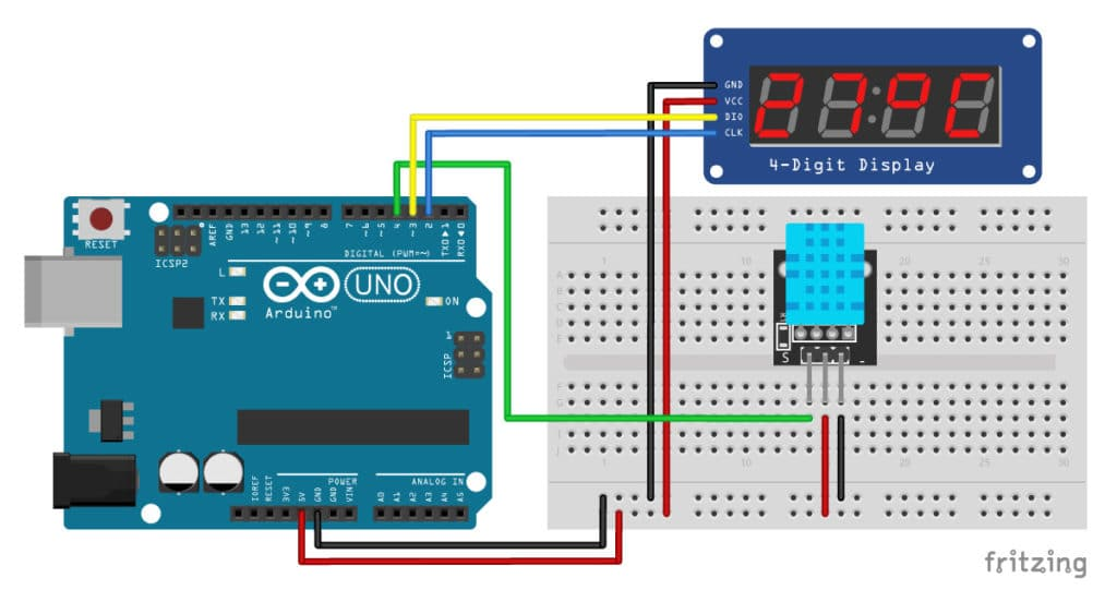 TM1637-4-digit-7-segment-display-with-DHT11-temperature-and-humidity-sensor-and-Arduino-UNO-tutorial-wiring-diagram-schematic-pinout