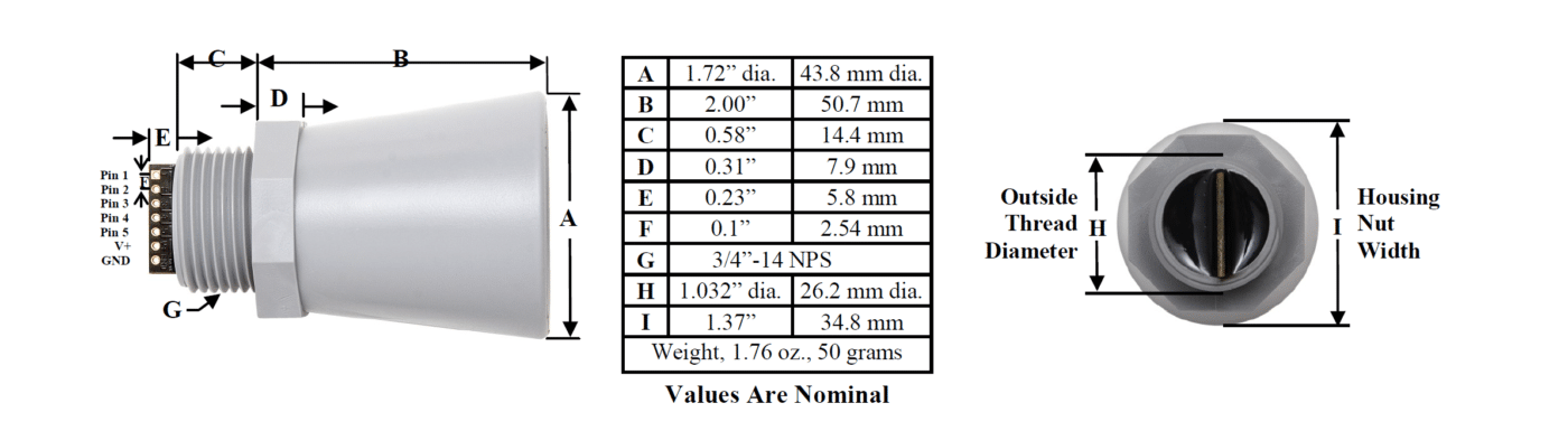 MB7389 Ultrasonic Distance Sensor dimensions