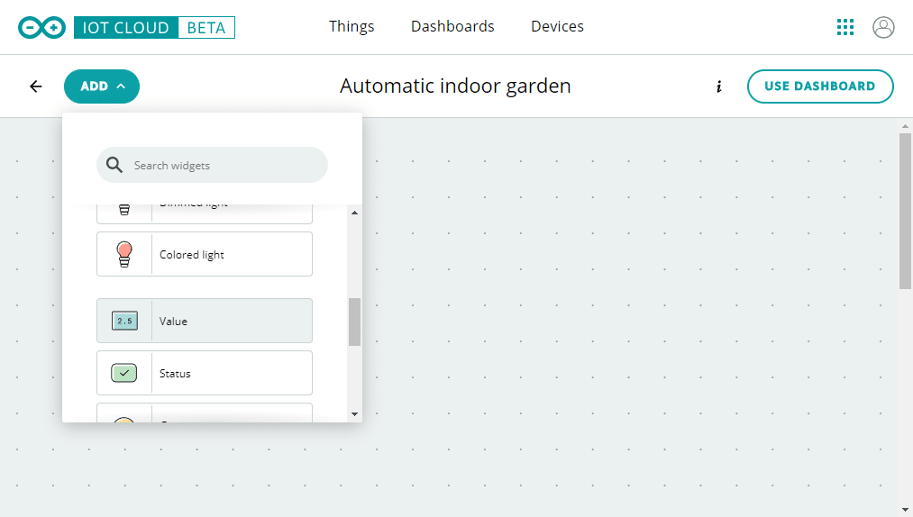 arduino iot cloud dashboard add widget