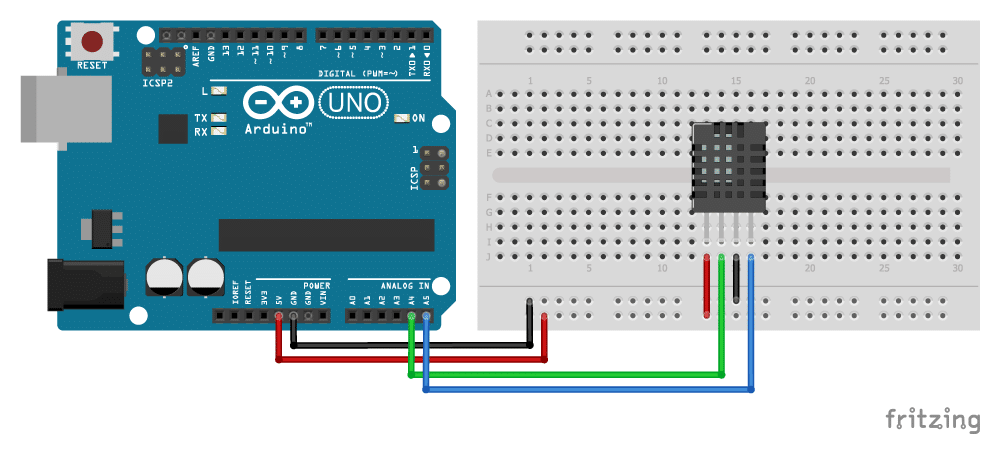 AM2320 digital temperature and humidity sensor with Arduino wiring diagram