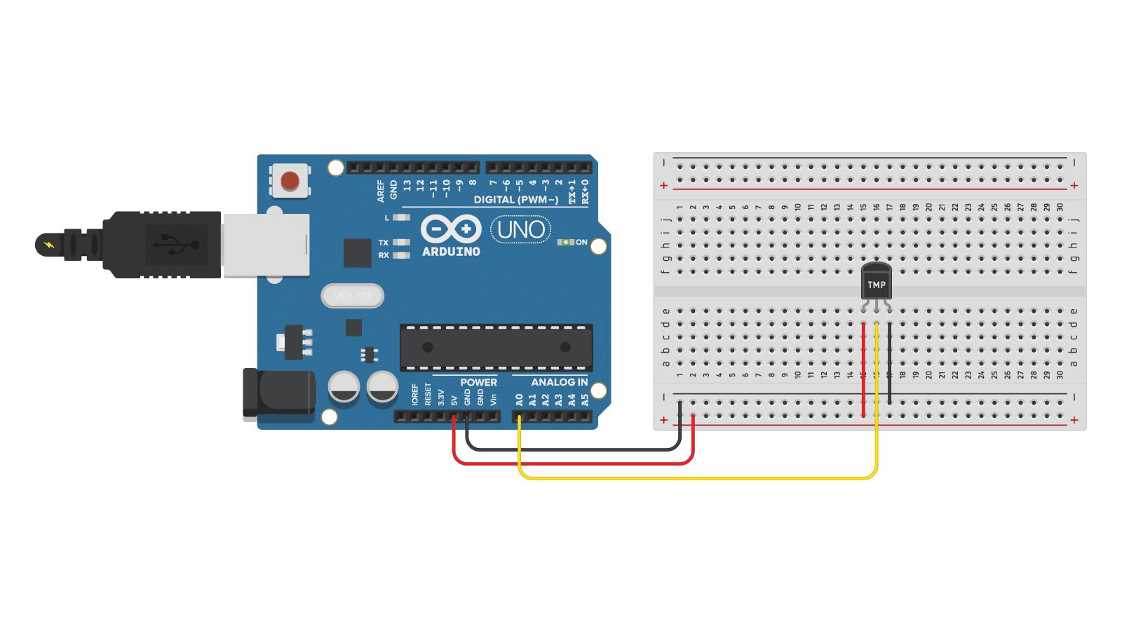 TMP36 analog temperature sensor with Arduino Uno wiring diagram