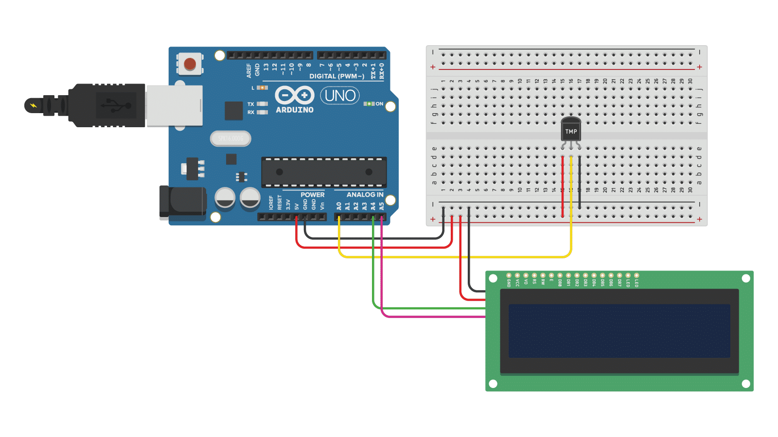 TMP36 analog temperature sensor with 16x2 character I2C LCD and Arduino wiring diagram.