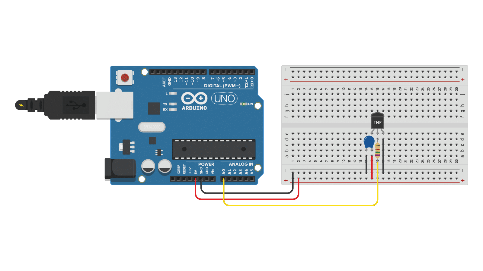 TMP36 with capacitor and resistor