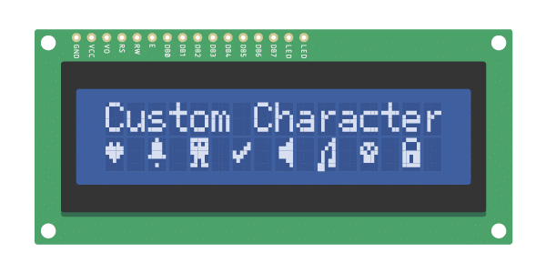 i2c lcd with arduino custom characters